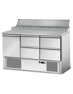 Refrigerated Saladette counter / preparation table 1,37 m x 0,7 m - with 1 doors and 4 drawers 1/2