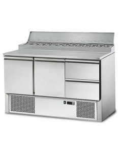 Refrigerated Saladette counter / preparation table 1,37 m x 0,7 m - with 2 doors and 2 drawers 1/2