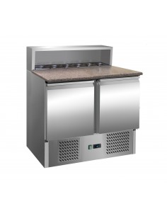 Refrigerated Saladette counter / refrigerated pizza table PREMIUM 0,9 m x 0,7 m - with 2 doors